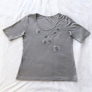 Caslon Tops - Light Grey Caslon Tee with Floral Details